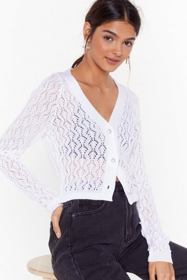 Womens Cream Beautiful Pearls Pointelle Knit Cardigan