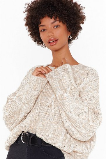Stone Knit Feels So Good Boat Neck Cable Sweater