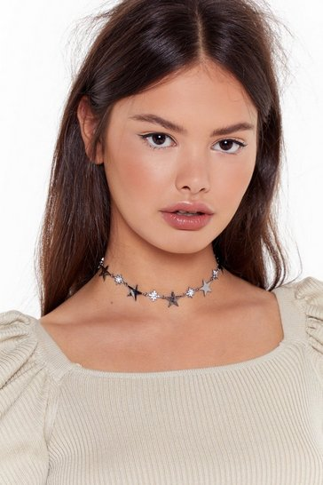 Gun metal Be a Rock Star Diamante Choker Necklace
