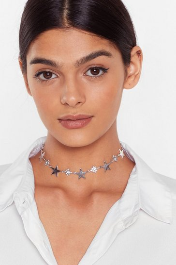 Silver Be a Rock Star Diamante Choker Necklace