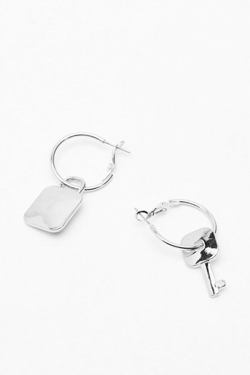 Silver The Key to Life Hoop Pendant Earrings