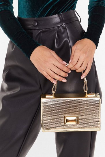 Gold WANT Box It Up Faux Leather Crossbody Bag