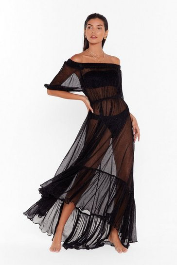 Womens Black Shimmer On Over Off-the-Shoulder Cover-Up Dress
