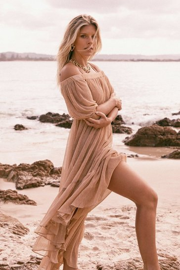 Bronze Shimmer On Over Off-the-Shoulder Cover-Up Dress