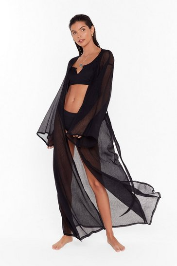 Womens Black Keep Your Pool Belted Cover-Up Kimono