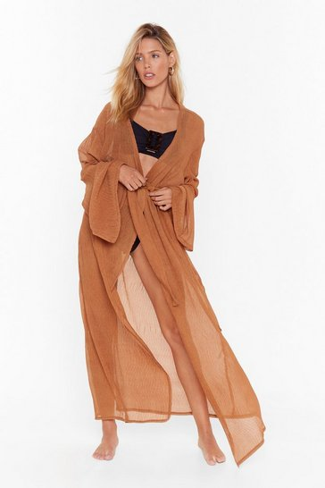 Womens Rust Keep Your Pool Belted Cover-Up Kimono