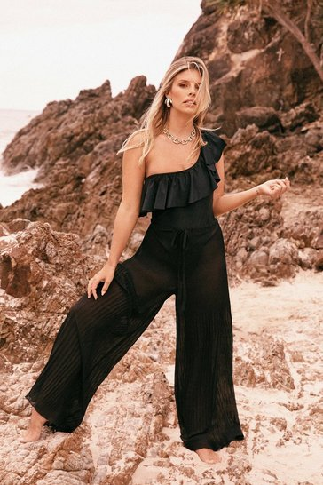 Womens Black Sea La Vie Wide-Leg Cover-Up Pants