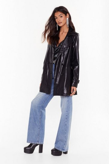 Black We're Leather Late Faux Leather Longline Jacket