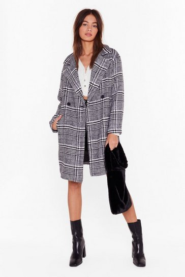 Womens Black Keep You in Check Longline Coat