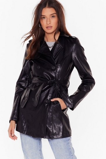 Black Heart Trenching Faux Leather Belted Coat