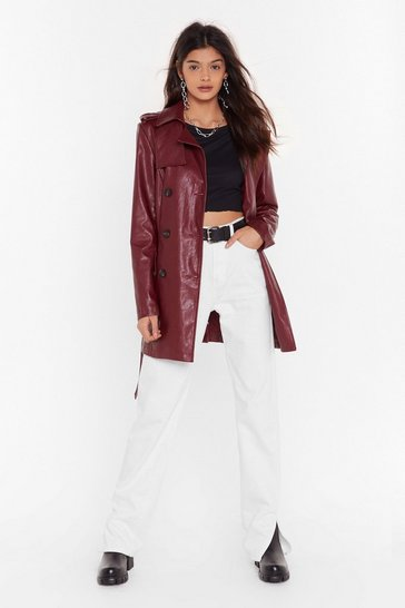 Womens Maroon Heart Trenching Faux Leather Belted Coat