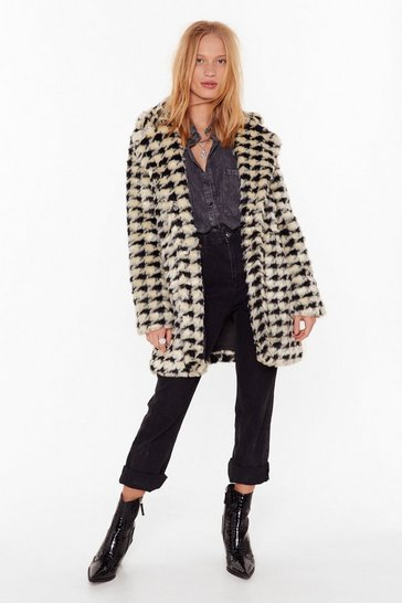 Womens Cream Ain't Nothin' But a Houndstooth Faux Fur Coat