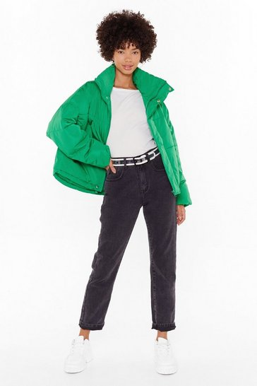 Womens Green Puff It Louder Padded Jacket