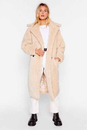 Beige Teddy or Not Faux Shearling Longline Coat