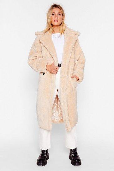 Beige Teddy or Not Faux Shearling Longline Coat