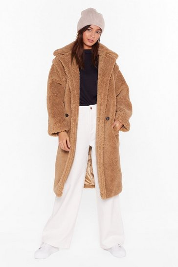 Camel Teddy or Not Faux Shearling Longline Coat