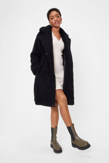 Womens Black Miles Fur Hour Faux Fur Longline Coat