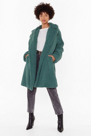 Womens Green Miles Fur Hour Faux Fur Longline Coat