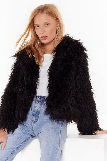 Womens Black Fur What It's Worth Shaggy Faux Fur Jacket