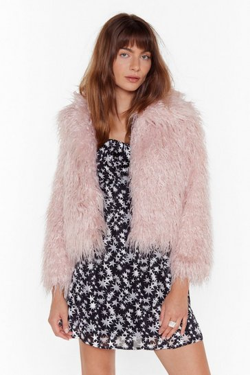 Womens Pink Fur What It's Worth Shaggy Faux Fur Jacket
