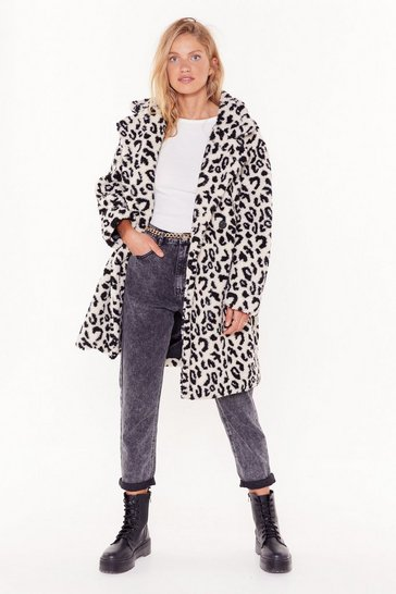 Cream Girls Go Wild Faux Fur Longline Coat