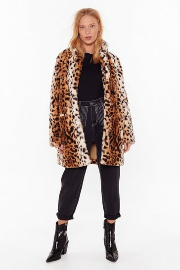 Womens Beige Wild Card Leopard Faux Fur Coat