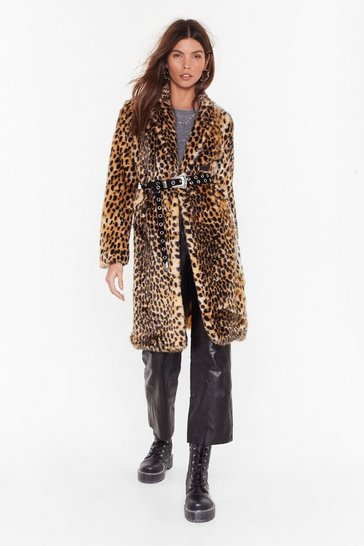 Womens Beige Cold Cold Hearted Leopard Faux Fur Coat
