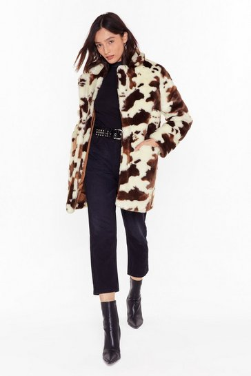 Womens Cream How Now Faux Fur Cow Coat