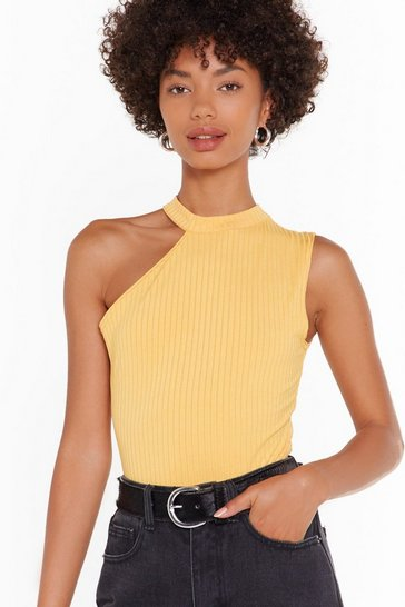 Womens Mustard High Neck Rib Bodysuit