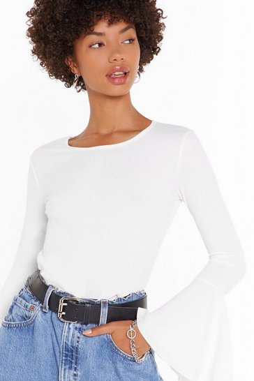 White Be Right Flare Ribbed Square Neck Top