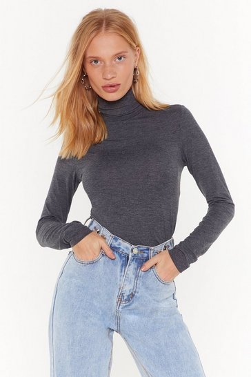 Womens Charcoal Such a High Roll Turtleneck Sweater