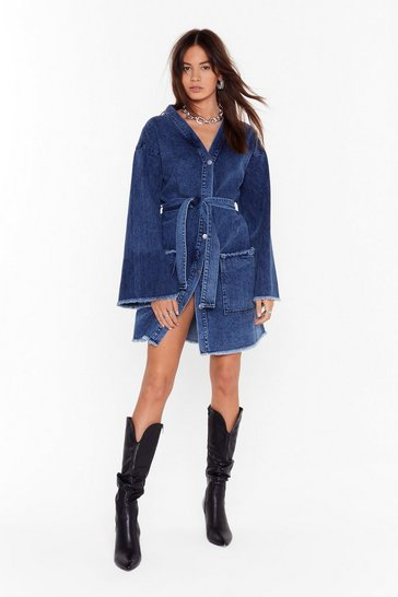 Womens Blue Saved By the Bell Denim Mini Dress