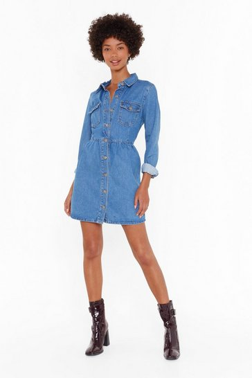 Womens Blue Wash Your Every Move Button-Down Mini Dress