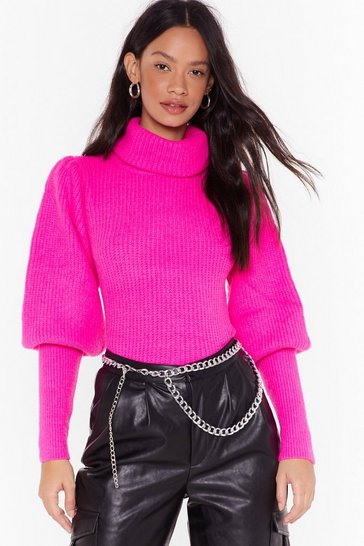 Womens Fuchsia Sleeve the Bar Puff Shoulder Turtleneck Sweater