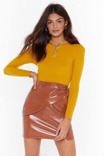 Tan It's Leather Enough Faux Leather Mini Skirt