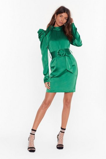 Womens Emerald That's Rich Satin Mini Dress