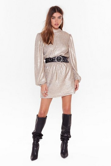 Womens Gold All Shine Sequin Mini Dress