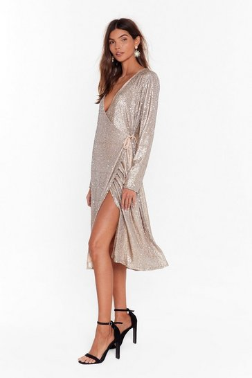 Womens Gold Sequin Them Over Wrap Midi Dress