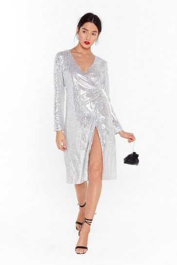 Womens Silver Sequin Them Over Wrap Midi Dress