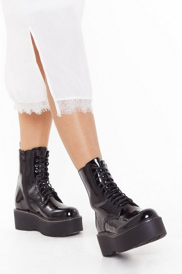Womens Black Wise Up Faux Leather Platform Boots