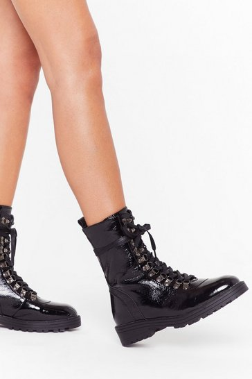 Womens Black D-Ring Your Patent Faux Leather Boots