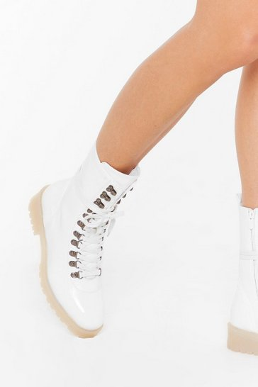 Womens White On Your Feet Faux Leather Lace-Up Boots