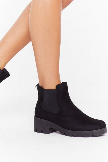 Womens Black Faux Suede Chelsea Boot