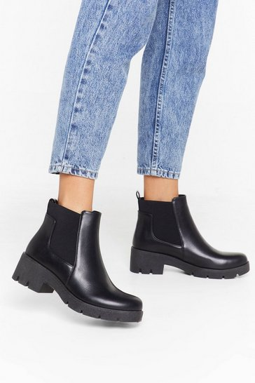 Womens Black Wrap Gusset Cleated Chelsea Boot
