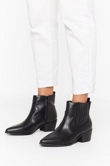 Womens Black Point It Out Faux Leather Chelsea Boot