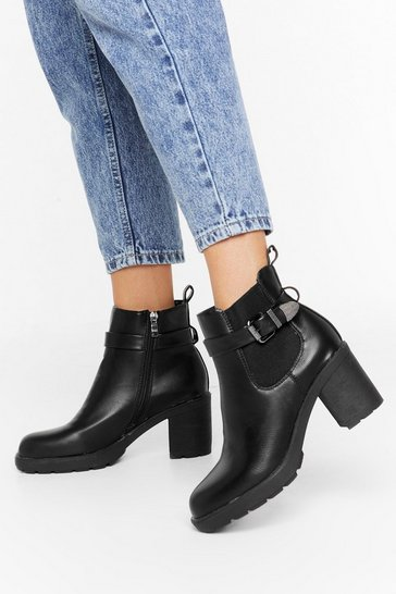Womens Black Strapped in Faux Leather Buckle Boots