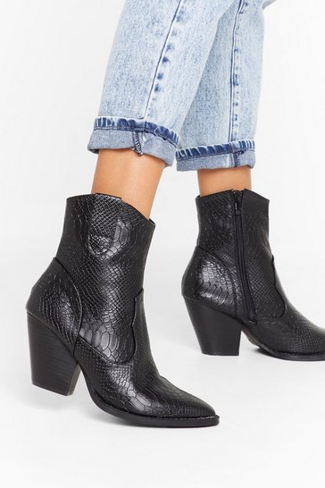 Black East to Western Croc Faux Leather Boots