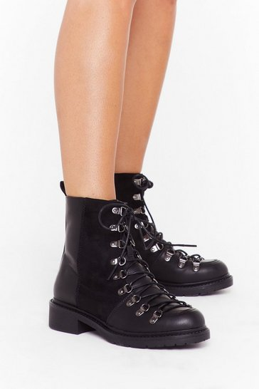 Womens Black You Can't Mix This Faux Leather Lace-Up Boots