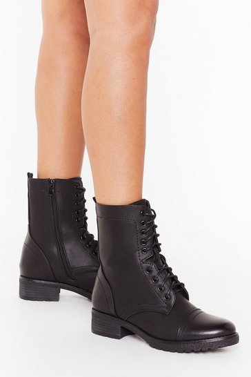Womens Black Let's Stay Together Faux Leather Lace-Up Boots