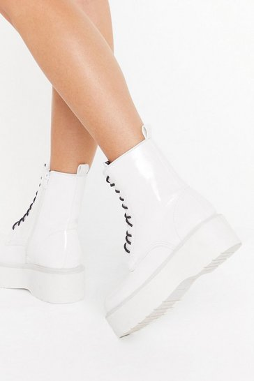 Womens White Up On the Platform Faux Leather Lace-Up Boots